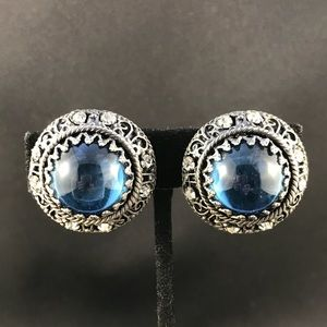Vintage silver and blue cabochon clip earrings